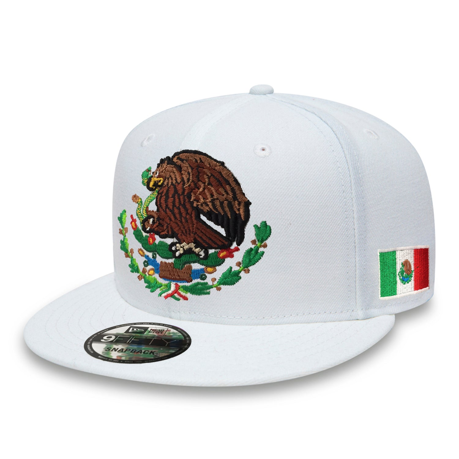 376e804f046cd ... best price embroidered shield and flag snapback mexico new era white hat  1f310 751d6