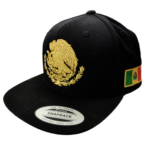 Embroidered Shield and flag SnapBack Mexico BLACK-GOLD hat