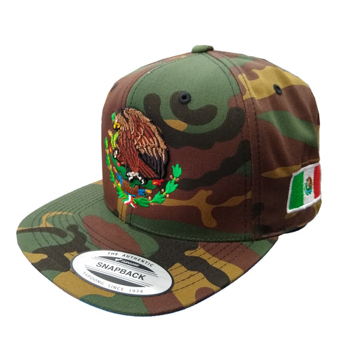 Embroidered Shield and flag SnapBack Mexico Camouflage hat