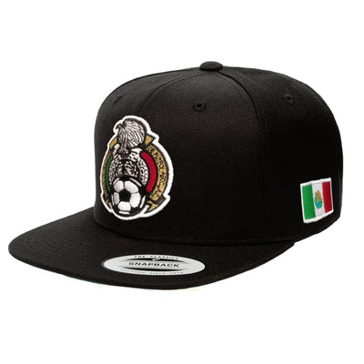 Football Mexicano Embroidered SnapBack Black hat
