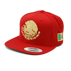 Embroidered Shield and flag SnapBack Mexico RED-GOLD hat