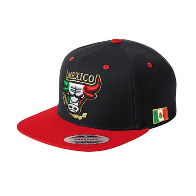 Embroidered SnapBack Mexican Bull logo BLACK-RED Hat