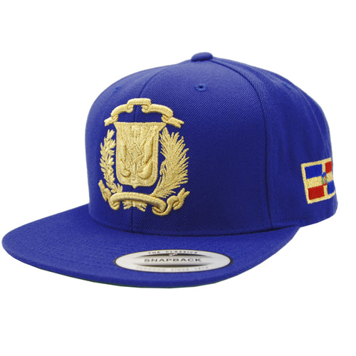 Escudo Republica Dominicana - Dominican Snapback Royal-Metallic Gold Hat