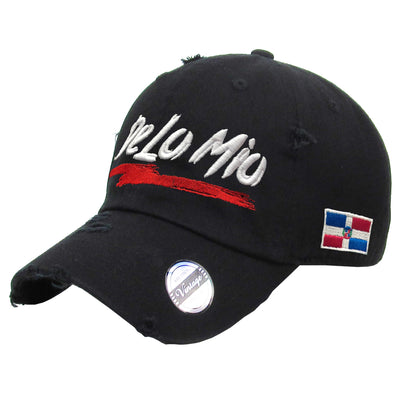 De lo mio embroidered  Logo Vintage Hats (Black/Full Color)