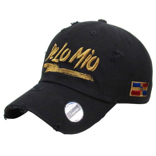 De lo mio embroidered  Logo Vintage Hats (Black/Metallic Gold)