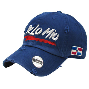 De lo mio embroidered  Logo Vintage Hats (Navy-Full Color)