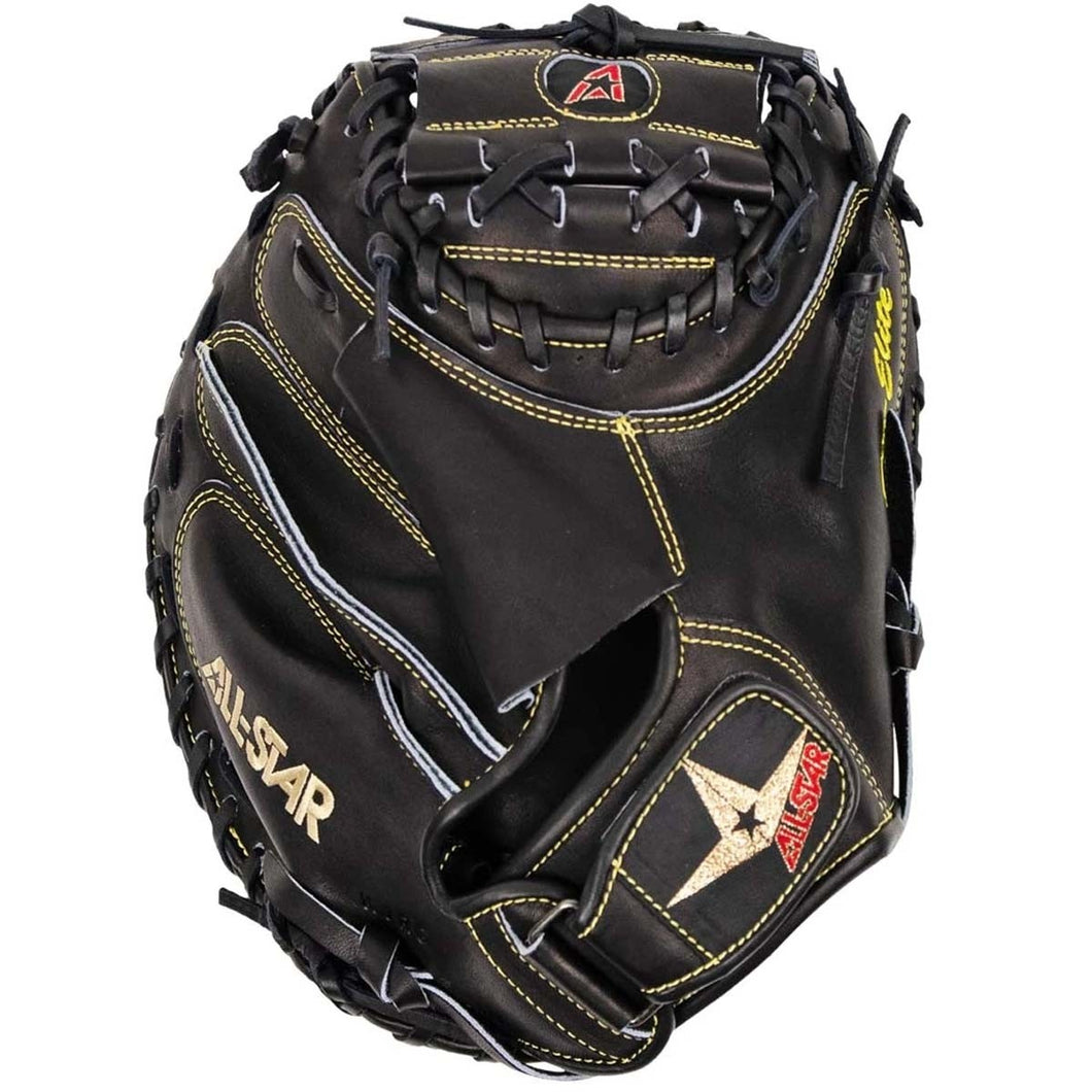 All Star Pro-Elite Solid Black Baseball Catcher's Mitt, 33.5