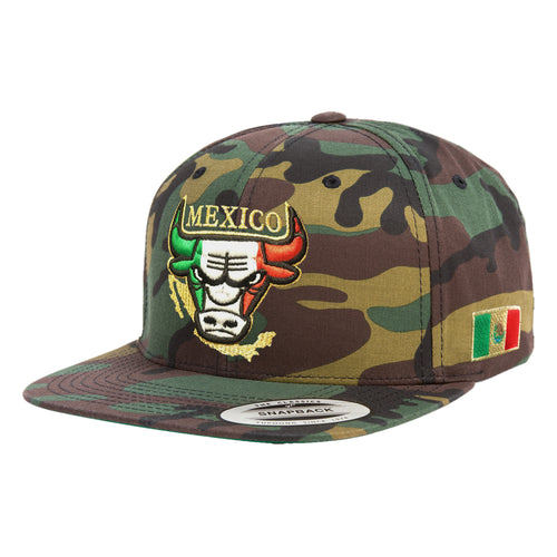 Embroidered SnapBack Mexican Bull logo CAMOUFLAGE Hat