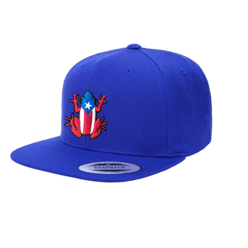 Puerto Rico SnapBack Royal Blue hat with Coqui Logo