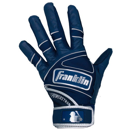 Franklin Adult Power Strap Navy Blue/Chrome Batting Gloves