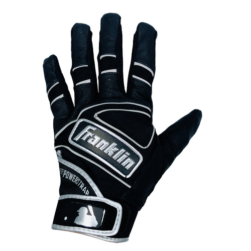 Franklin Adult Power Strap Black/Chrome Batting Gloves