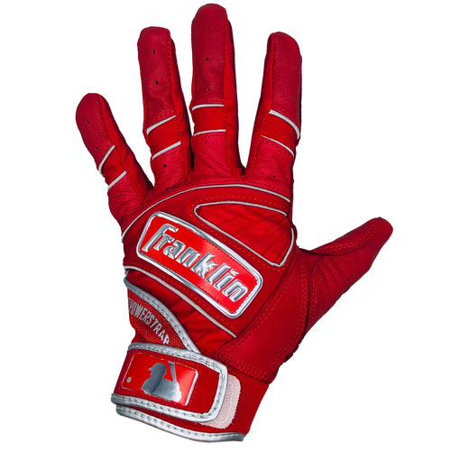 Franklin Adult Power Strap Red/Chrome Batting Gloves