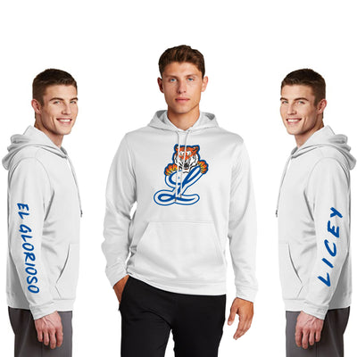 Tigres del Licey Fleece Hooded Pullover Sleeves printed