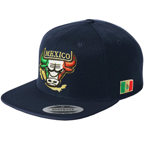 Embroidered SnapBack Mexican Bull logo NAVY Hat