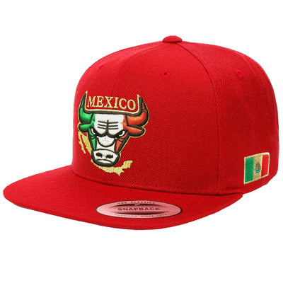 Embroidered SnapBack Mexican Bull logo RED Hat