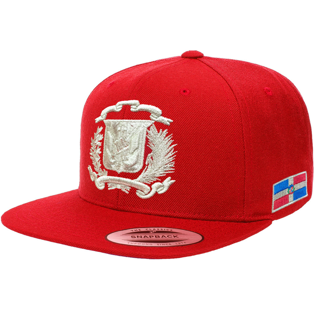 Escudo Republica Dominicana - Dominican Snapback Red-Metallic Silver Hat