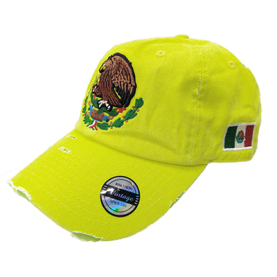 Mexico Vintage hats with Mexican Flag and Shield Neon Lime Hat
