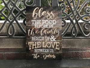 Family Canvas, Bless The Food Before Us, The Family Beside Us And The Love Between Us, Personalized