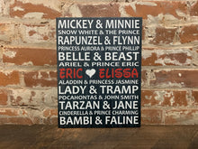 Disney Themed Anniversary Gift, Custom Canvas, Rustic Disney Couple Wall Decor, Cute Bridal Shower, Housewarming or Birthday Present