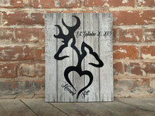 Rustic Buck And Doe Love Canvas, Personalized, Perfect Anniversary Or Wedding Gift