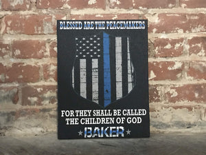 Blessed Are the Peacemakers CANVAS, Personalized Blue Line