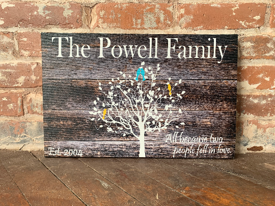 Custom Family Tree Canvas, Love Birds, Rustic Home Decor, Free Personalization, Great Valentine's Day or Anniversary Gift