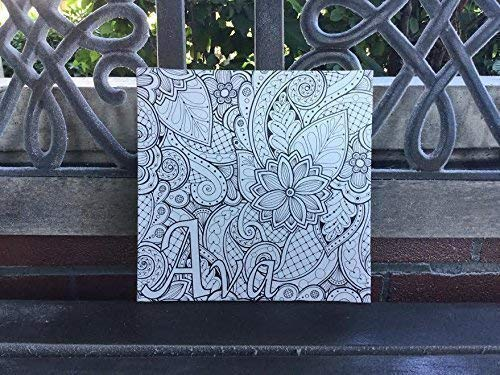 Personalized Coloring Canvas, Abstract Design With Name Of Choice, Great Gift