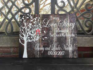 Love Birds Canvas, Every Love Story Is Beautiful Perfect Valentine's Day Or Wedding Gift