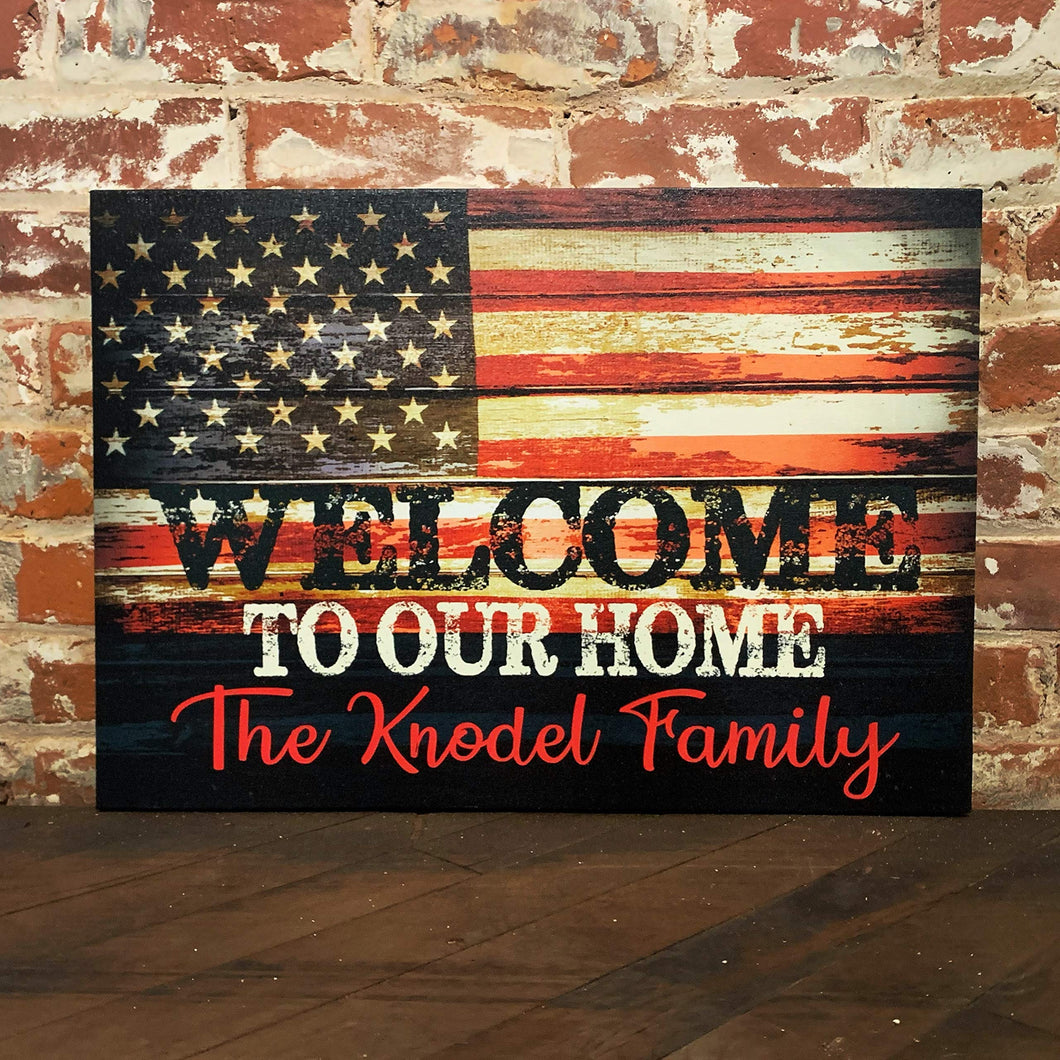 Rustic American Flag Sign, Custom Canvas Decor, Free Personalization, Great Valentine's Day, Wedding or Anniversary Gift
