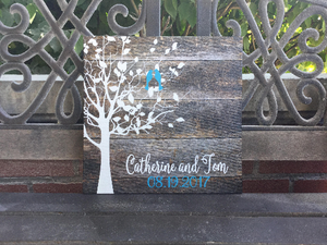 Rustic Family Tree,Lovebirds, Personalized Canvas Decor, Valentine, Anniversary or Wedding Gift