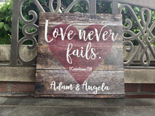 Love Never Fails Custom CANVAS; Rustic; Made to Order