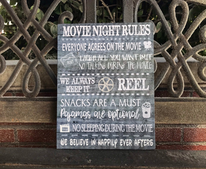 Movie Night Rules Canvas, Can Be Personalized, Family Wall Decor
