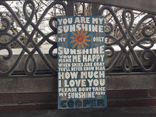 You Are My Sunshinr Custom CANVAS, Blue Woodgrain Background