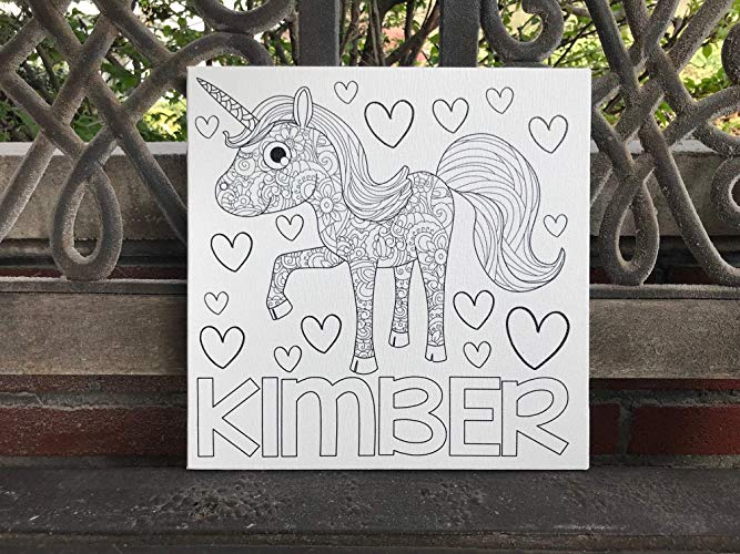 Personalized Coloring Canvas, Unicorn Design With Name Of Choice, Great Gift