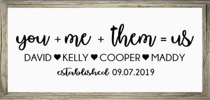 "You + Me + ""Them"" = Us, Custom Canvas, Personalized, Perfect Anniversary Or Wedding Gift"