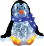 "12"" Acrylic Christmas Penguin - Lighted - Willow Manor Shop"