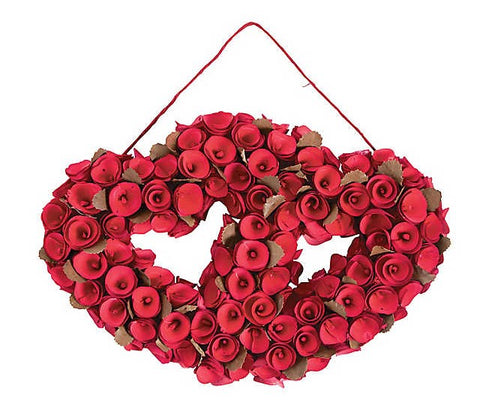 "15"" Rose Double Heart Shaped Valentines Wreath - Willow Manor Shop"
