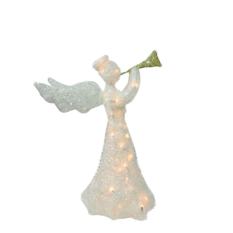 "29"" Tinsel Angel with Trumpet - Lighted - Willow Manor Shop"