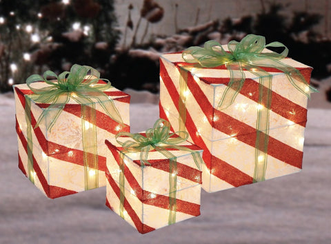 Set of 3 Candy Cane Striped Gift Boxes - Lighted