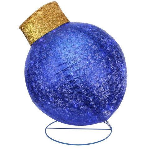 3 Ft Twinkling Lighted Glitter Ornament - Blue - Willow Manor Shop