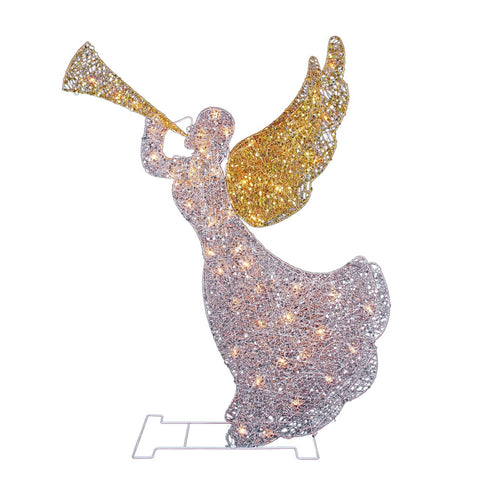 "46"" Glitter 3-D Trumpet Angel - Lighted - Willow Manor Shop"