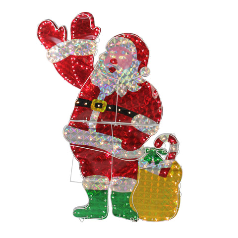 "48"" Holographic Lighted Santa - Animated - Willow Manor Shop"