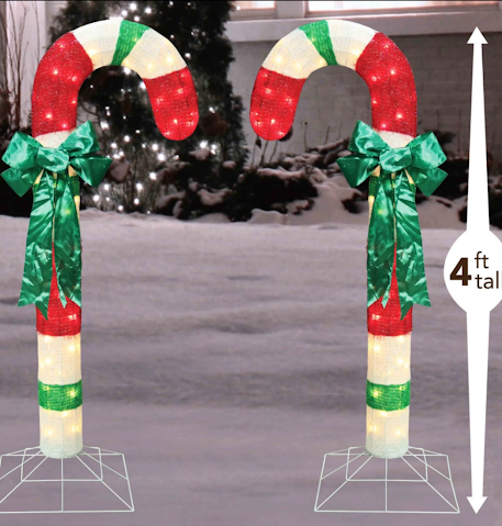 4 Ft Tinsel Candy Canes (Set of 2) - Lighted - Willow Manor Shop