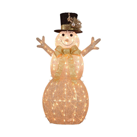 "52"" Rattan Snowman with Top Hat - Lighted"