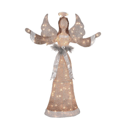 "55"" Silver & Gold Glittered 3D Angel - Lighted"