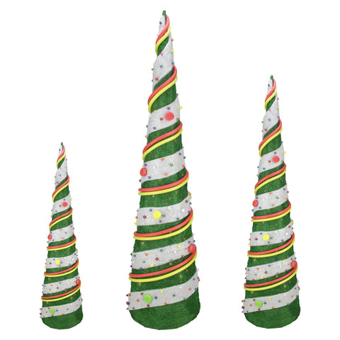 Set of 3 Candy Covered Cone Trees - Lighted