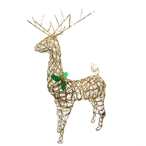 "57"" Grapevine Standing Reindeer Buck - Lighted - Willow Manor Shop"