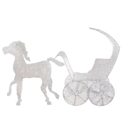 "57"" Crystal 3D Horse & Carriage - Lighted"