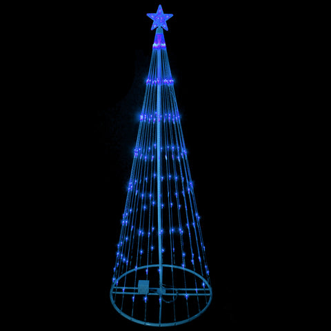 6' Blue LED Lighted Show Cone Outdoor Animated Tree