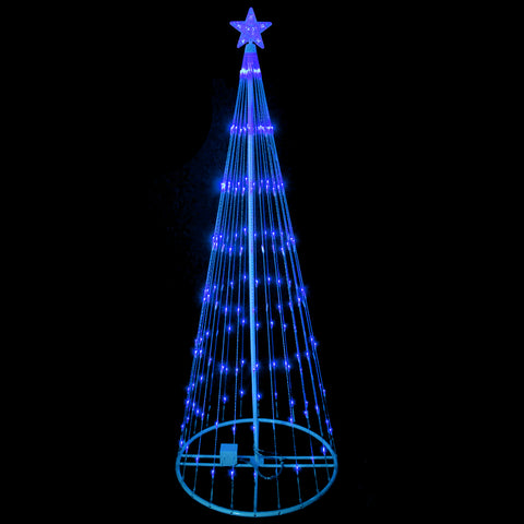 9' Blue LED Show Cone Outdoor Tree